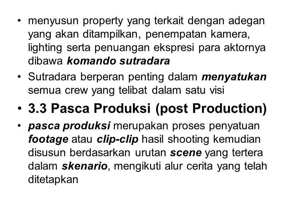 menyusun property yang terkait dengan adegan yang akan ditampilkan, penempatan kamera, lighting serta penuangan ekspresi para aktornya dibawa komando