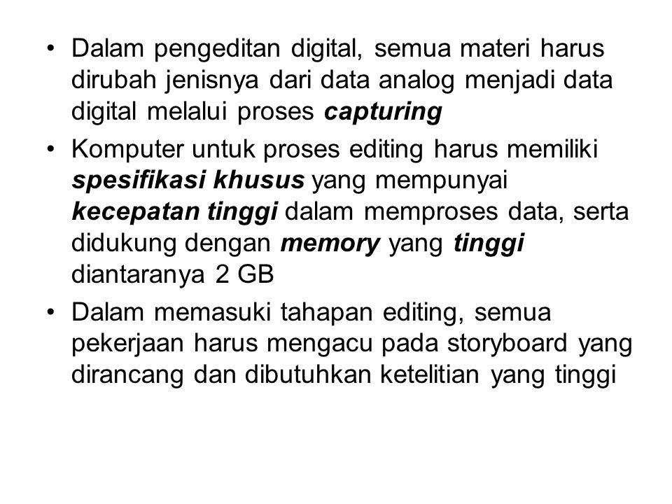 Dalam pengeditan digital, semua materi harus dirubah jenisnya dari data analog menjadi data digital melalui proses capturing Komputer untuk proses edi