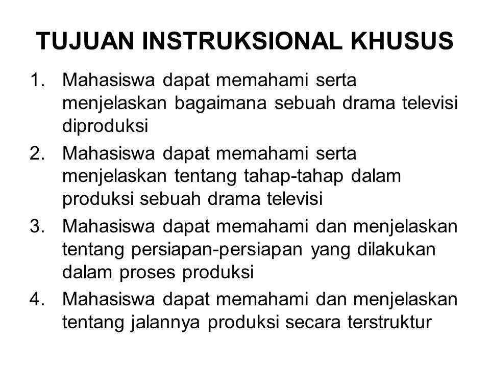 TUJUAN INSTRUKSIONAL KHUSUS 1.Mahasiswa dapat memahami serta menjelaskan bagaimana sebuah drama televisi diproduksi 2.Mahasiswa dapat memahami serta m