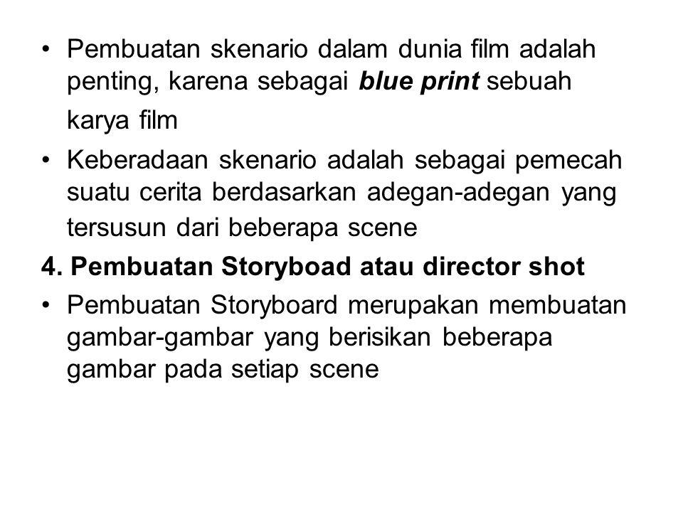 Pembuatan skenario dalam dunia film adalah penting, karena sebagai blue print sebuah karya film Keberadaan skenario adalah sebagai pemecah suatu cerita berdasarkan adegan-adegan yang tersusun dari beberapa scene 4.