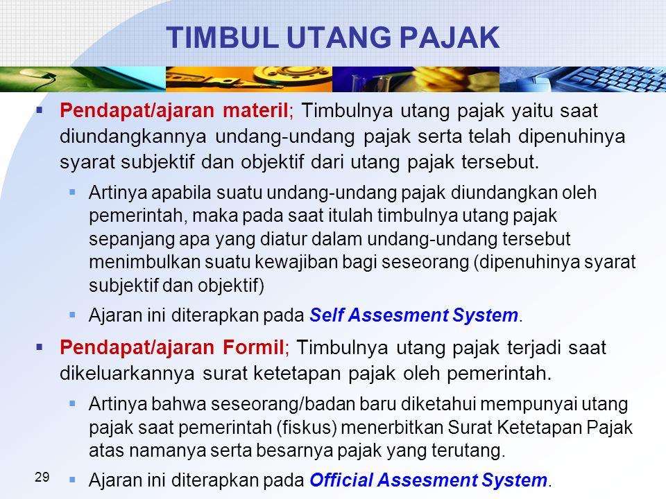 29 TIMBUL UTANG PAJAK  Pendapat/ajaran materil; Timbulnya utang pajak yaitu saat diundangkannya undang-undang pajak serta telah dipenuhinya syarat su
