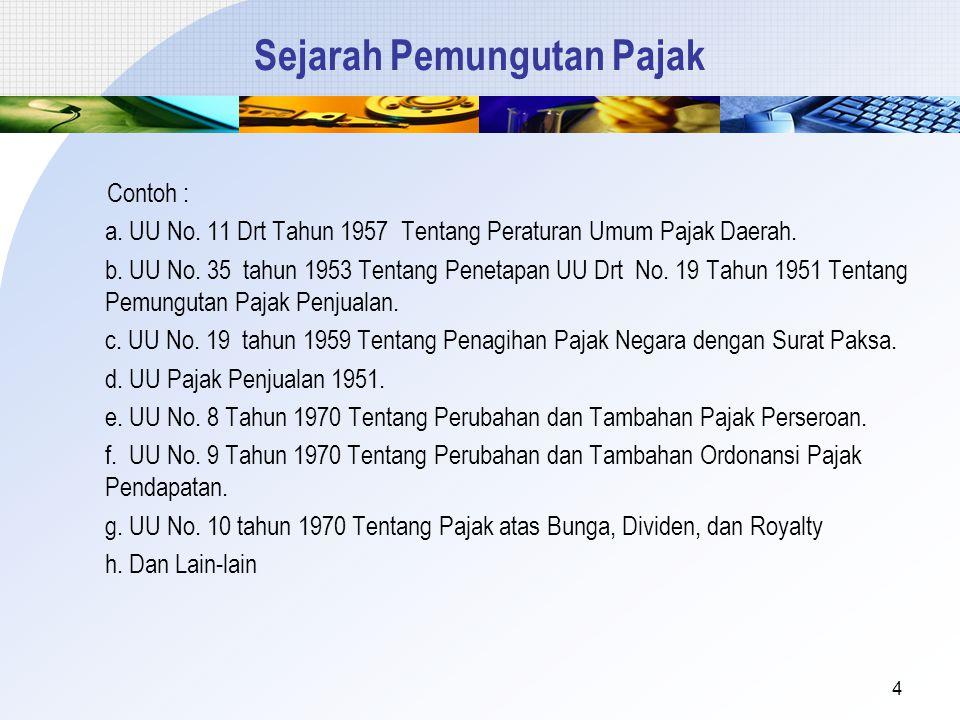 Sejarah Pemungutan Pajak Contoh : a. UU No. 11 Drt Tahun 1957 Tentang Peraturan Umum Pajak Daerah. b. UU No. 35 tahun 1953 Tentang Penetapan UU Drt No