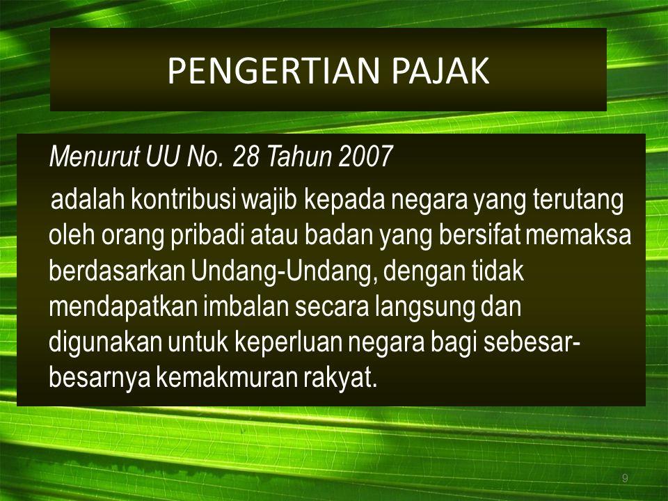 9 Menurut UU No. 28 Tahun 2007 adalah kontribusi wajib kepada negara yang terutang oleh orang pribadi atau badan yang bersifat memaksa berdasarkan Und