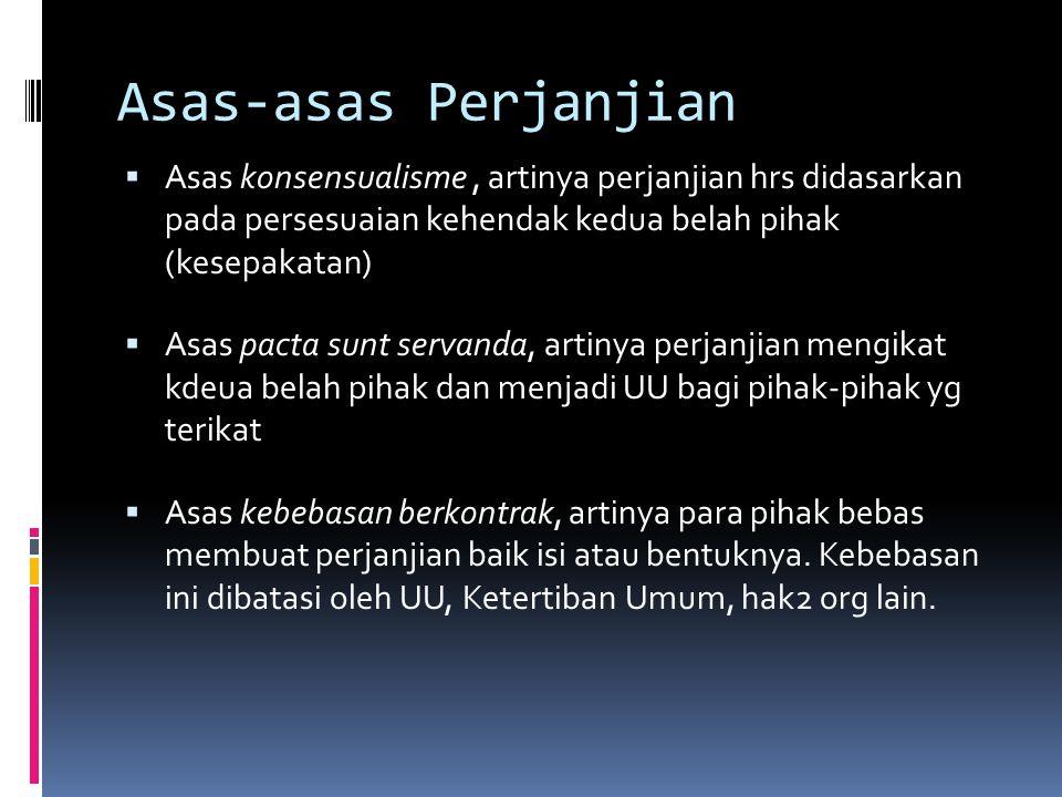 Asas-asas Perjanjian  Asas konsensualisme, artinya perjanjian hrs didasarkan pada persesuaian kehendak kedua belah pihak (kesepakatan)  Asas pacta s