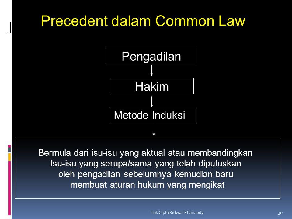 Hak Cipta Ridwan Khairandy 30 Precedent dalam Common Law Hakim Metode Induksi Bermula dari isu-isu yang aktual atau membandingkan Isu-isu yang serupa/sama yang telah diputuskan oleh pengadilan sebelumnya kemudian baru membuat aturan hukum yang mengikat Pengadilan
