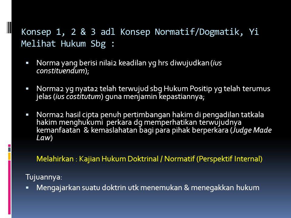 Konsep 1, 2 & 3 adl Konsep Normatif/Dogmatik, Yi Melihat Hukum Sbg :  Norma yang berisi nilai2 keadilan yg hrs diwujudkan (ius constituendum);  Norm