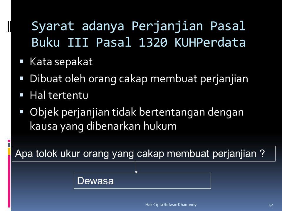 Hak Cipta Ridwan Khairandy 52 Syarat adanya Perjanjian Pasal Buku III Pasal 1320 KUHPerdata  Kata sepakat  Dibuat oleh orang cakap membuat perjanjia