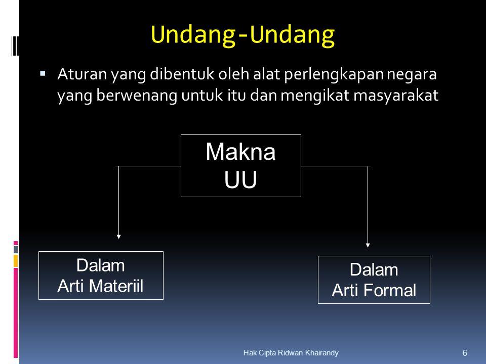 Hak Cipta Ridwan Khairandy 6 Undang-Undang  Aturan yang dibentuk oleh alat perlengkapan negara yang berwenang untuk itu dan mengikat masyarakat Makna