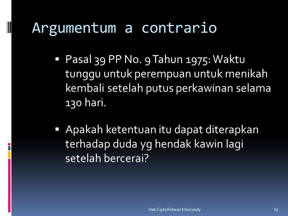 Hak Cipta Ridwan Khairandy 67 Argumentum a contrario  Pasal 39 PP No. 9 Tahun 1975: Waktu tunggu untuk perempuan untuk menikah kembali setelah putus