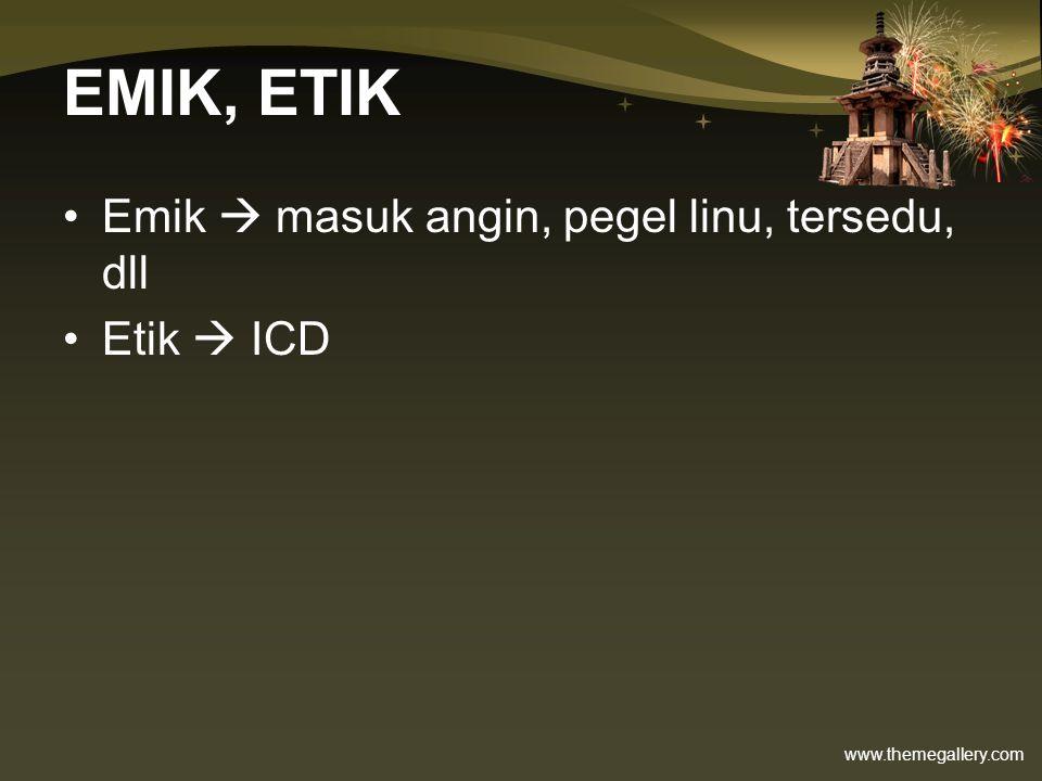 www.themegallery.com EMIK, ETIK Emik  masuk angin, pegel linu, tersedu, dll Etik  ICD
