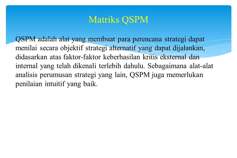 Contoh Matriks Strategi Besar Kuadran II 1.Perkembangan pasar 2.Penetrasi pasar 3.Pengembangan produk 4.Integrasi horizontal 5.Divestiture 6.Likuidasi