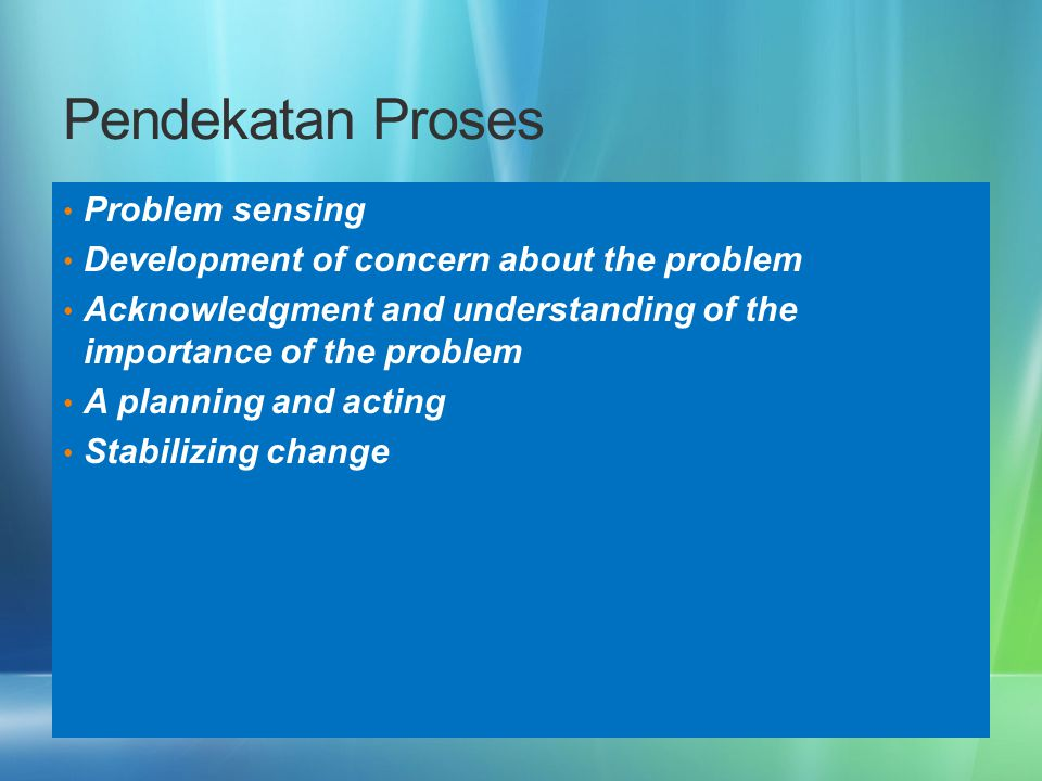 Pendekatan Proses Problem sensing Development of concern about the problem Acknowledgment and understanding of the importance of the problem A plannin