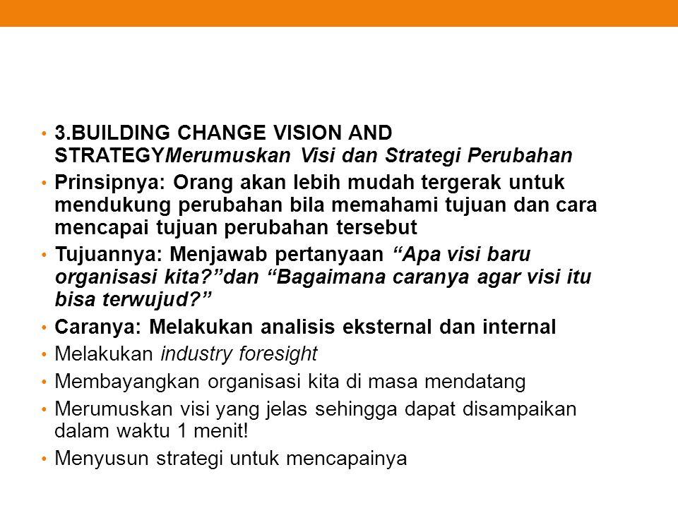 3.BUILDING CHANGE VISION AND STRATEGYMerumuskan Visi dan Strategi Perubahan Prinsipnya: Orang akan lebih mudah tergerak untuk mendukung perubahan bila