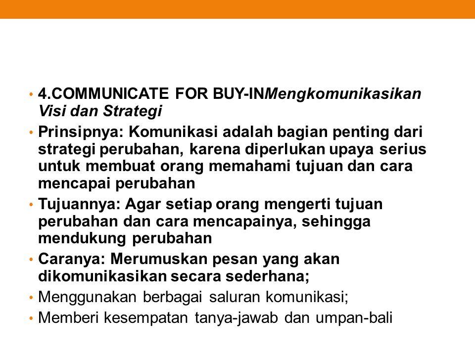 4.COMMUNICATE FOR BUY-INMengkomunikasikan Visi dan Strategi Prinsipnya: Komunikasi adalah bagian penting dari strategi perubahan, karena diperlukan up