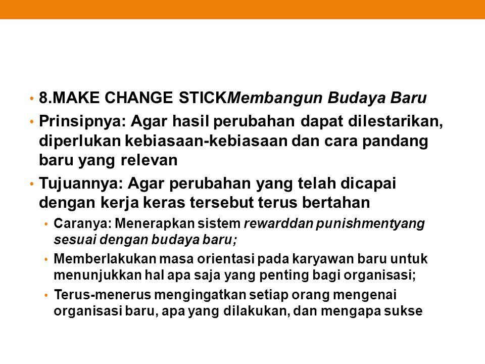 8.MAKE CHANGE STICKMembangun Budaya Baru Prinsipnya: Agar hasil perubahan dapat dilestarikan, diperlukan kebiasaan-kebiasaan dan cara pandang baru yan