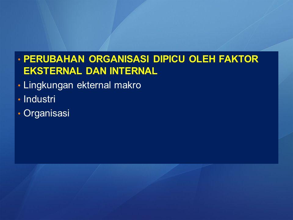 PERUBAHAN ORGANISASI DIPICU OLEH FAKTOR EKSTERNAL DAN INTERNAL Lingkungan ekternal makro Industri Organisasi