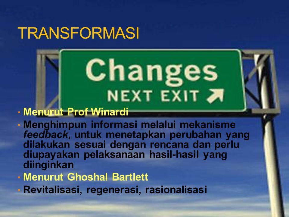 TRANSFORMASI Menurut Prof Winardi Menghimpun informasi melalui mekanisme feedback, untuk menetapkan perubahan yang dilakukan sesuai dengan rencana dan
