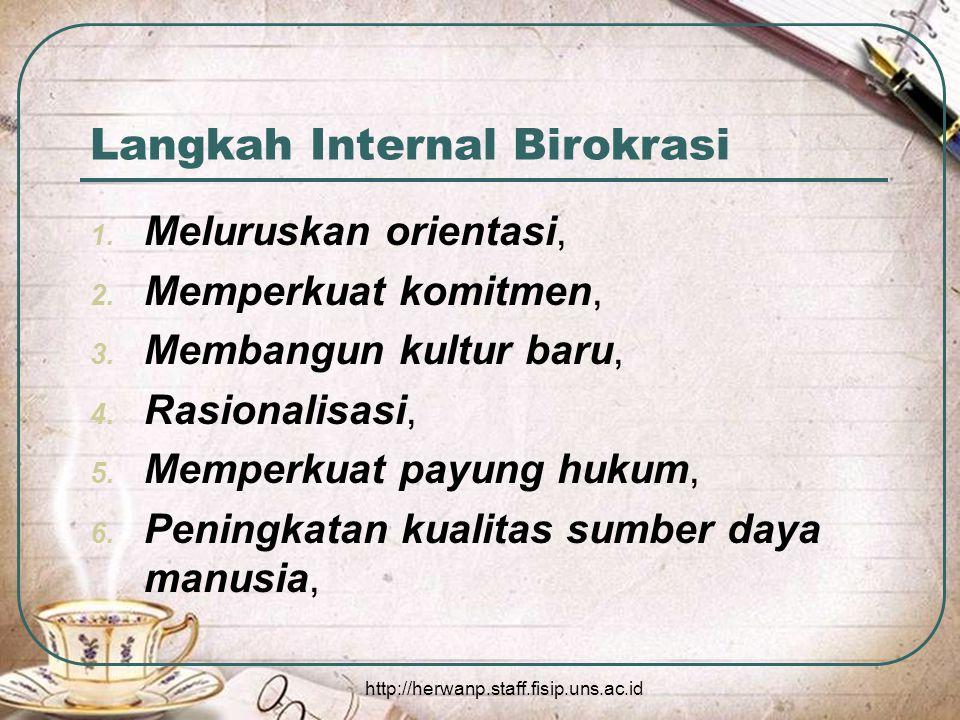 http://herwanp.staff.fisip.uns.ac.id Langkah Internal Birokrasi 1.