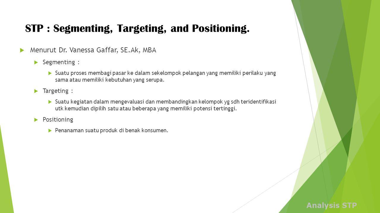 STP : Segmenting, Targeting, and Positioning. Analysis STP  Menurut Dr. Vanessa Gaffar, SE.Ak, MBA  Segmenting :  Suatu proses membagi pasar ke dal
