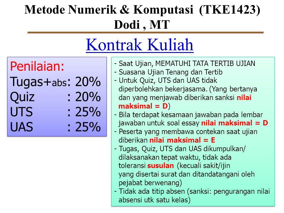 Metode Numerik & Komputasi (TKE1423) Dodi, MT Kontrak Kuliah Penilaian: Tugas+ abs : 20% Quiz: 20% UTS: 25% UAS: 25% Penilaian: Tugas+ abs : 20% Quiz: