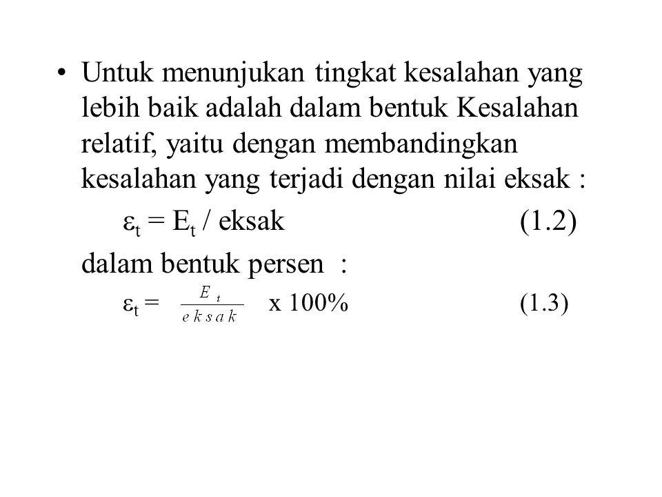 nilai perkiraan (approximate value) terbaik, sehingga kesalahannya :  a = x 100%(1.4) kesalahan relatif :  a = x 100 % (1.5) dimana : p n+1 = nilai perkiraan pada iterasi ke n+1 (sekarang) p n = nilai perkiraan pada iterasi ke n (sebelumnya)