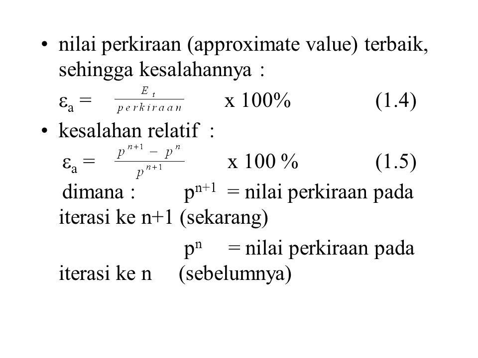 nilai perkiraan (approximate value) terbaik, sehingga kesalahannya :  a = x 100%(1.4) kesalahan relatif :  a = x 100 % (1.5) dimana : p n+1 = nilai