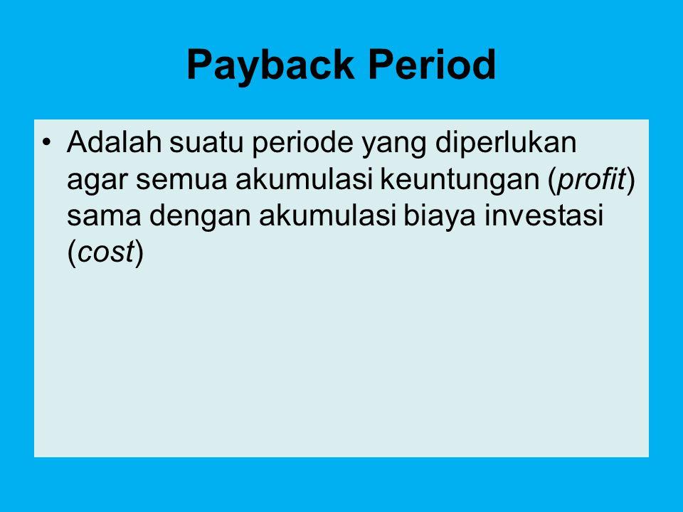 RUMUS p I 0 = ∑ NCF t t=1 Dimana : I 0 = investasi awal NFC t = net cash flow tahun ke-t p = payback period