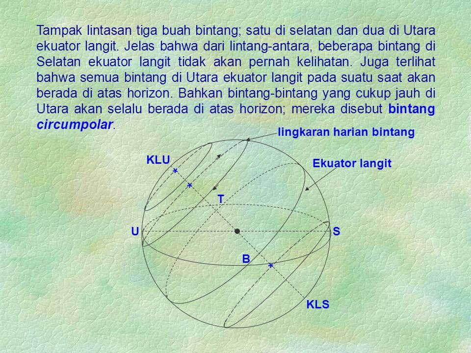 KLU KLS Ekuator langit Tampak lintasan tiga buah bintang; satu di selatan dan dua di Utara ekuator langit. Jelas bahwa dari lintang-antara, beberapa b