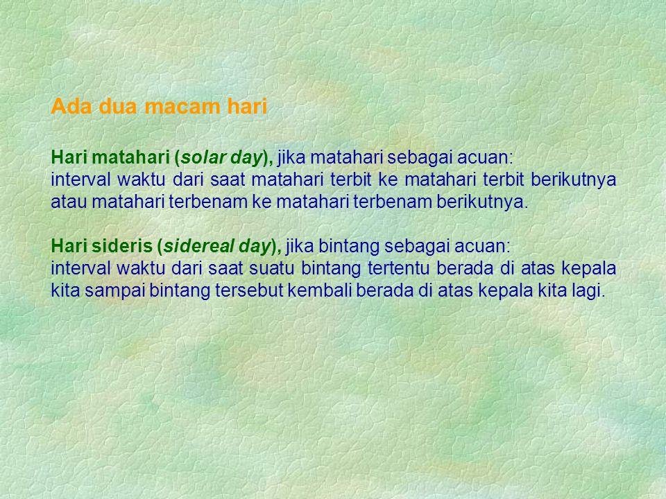 Ada dua macam hari Hari matahari (solar day), jika matahari sebagai acuan: interval waktu dari saat matahari terbit ke matahari terbit berikutnya atau