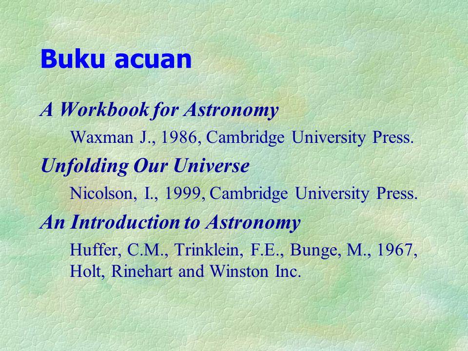 Buku acuan A Workbook for Astronomy Waxman J., 1986, Cambridge University Press. Unfolding Our Universe Nicolson, I., 1999, Cambridge University Press
