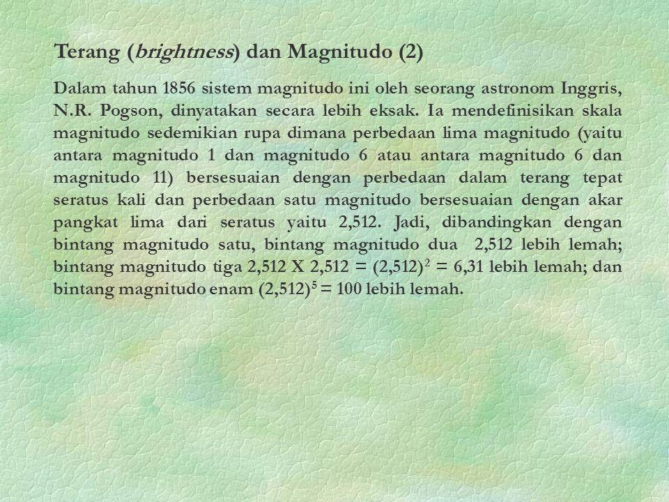 Dalam tahun 1856 sistem magnitudo ini oleh seorang astronom Inggris, N.R. Pogson, dinyatakan secara lebih eksak. Ia mendefinisikan skala magnitudo sed