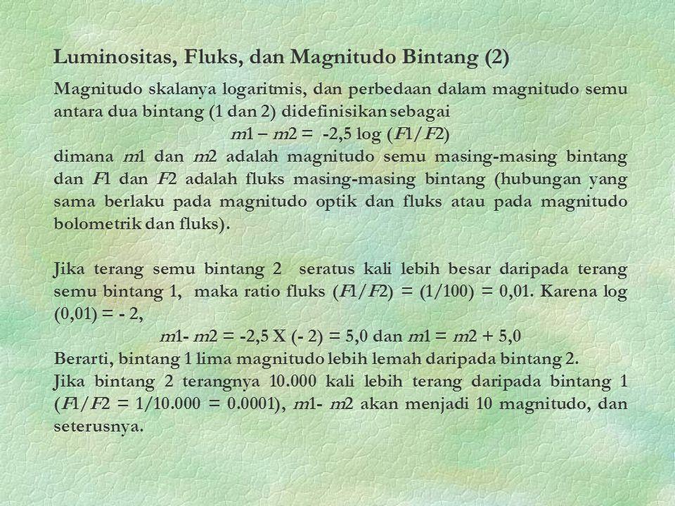 Magnitudo skalanya logaritmis, dan perbedaan dalam magnitudo semu antara dua bintang (1 dan 2) didefinisikan sebagai m1 – m2 = -2,5 log (F1/F2) dimana