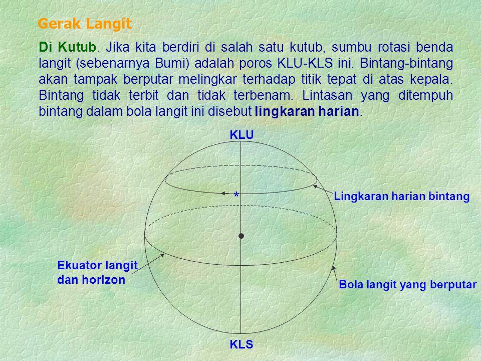 Di Kutub. Jika kita berdiri di salah satu kutub, sumbu rotasi benda langit (sebenarnya Bumi) adalah poros KLU-KLS ini. Bintang-bintang akan tampak ber