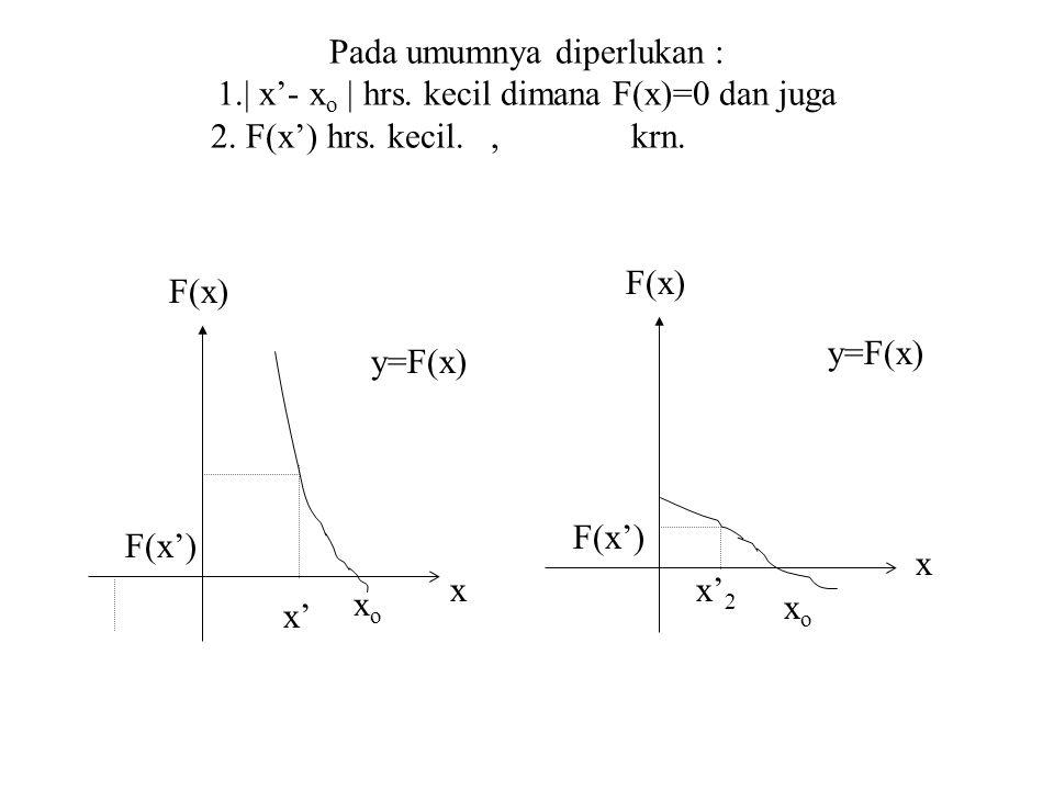 Pada umumnya diperlukan : 1.  x'- x o   hrs.kecil dimana F(x)=0 dan juga 2.