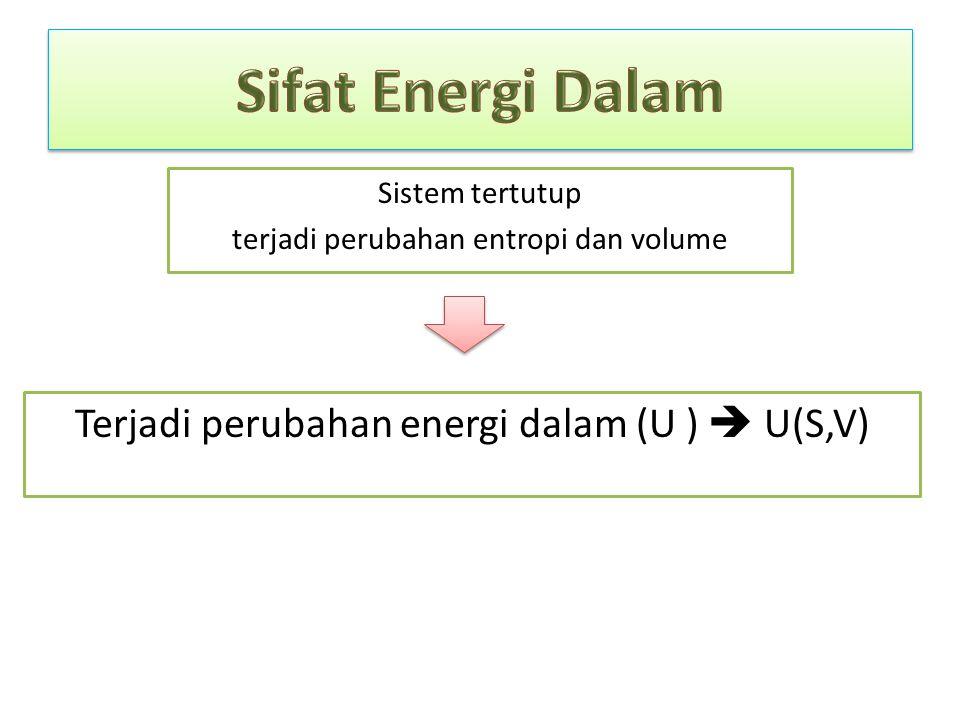 Sistem tertutup terjadi perubahan entropi dan volume Terjadi perubahan energi dalam (U )  U(S,V)