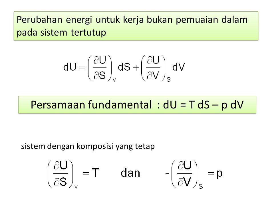 Perubahan energi untuk kerja bukan pemuaian dalam pada sistem tertutup sistem dengan komposisi yang tetap Persamaan fundamental : dU = T dS – p dV