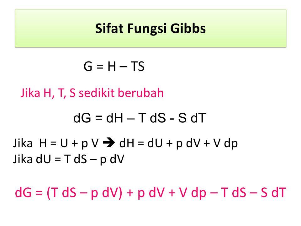 Sifat Fungsi Gibbs G = H – TS Jika H, T, S sedikit berubah dG = dH – T dS - S dT Jika H = U + p V  dH = dU + p dV + V dp Jika dU = T dS – p dV dG = (T dS – p dV) + p dV + V dp – T dS – S dT