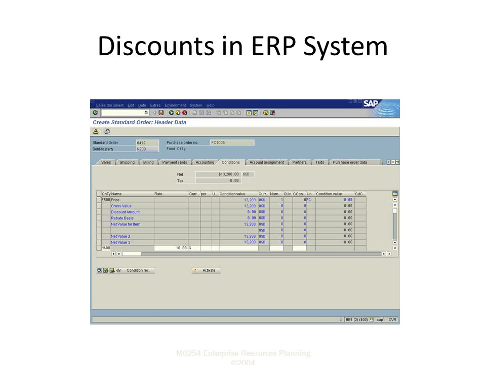 M0254 Enterprise Resources Planning ©2004 Discounts in ERP System Sold-to party P.O. Number Required Delivery Date Material Order Quantity