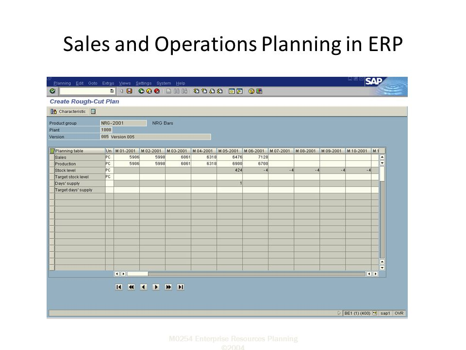 M0254 Enterprise Resources Planning ©2004 Sales and Operations Planning in ERP