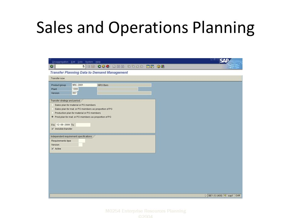 M0254 Enterprise Resources Planning ©2004 Sales and Operations Planning