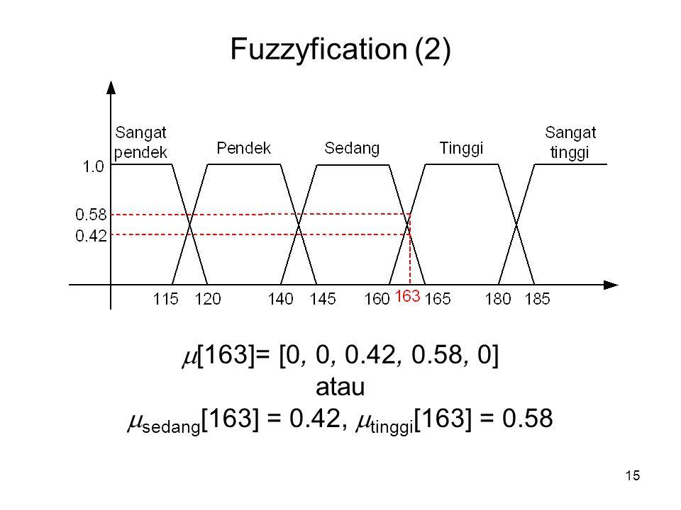 15 Fuzzyfication (2)  [163]= [0, 0, 0.42, 0.58, 0] atau  sedang [163] = 0.42,  tinggi [163] = 0.58