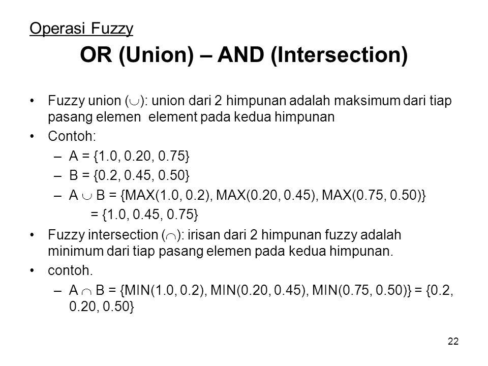 22 Operasi Fuzzy Fuzzy union (  ): union dari 2 himpunan adalah maksimum dari tiap pasang elemen element pada kedua himpunan Contoh: –A = {1.0, 0.20, 0.75} –B = {0.2, 0.45, 0.50} –A  B = {MAX(1.0, 0.2), MAX(0.20, 0.45), MAX(0.75, 0.50)} = {1.0, 0.45, 0.75} OR (Union) – AND (Intersection) Fuzzy intersection (  ): irisan dari 2 himpunan fuzzy adalah minimum dari tiap pasang elemen pada kedua himpunan.