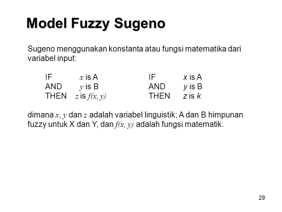 29 Sugeno menggunakan konstanta atau fungsi matematika dari variabel input: IF x is A AND y is B THEN z is f(x, y) dimana x, y dan z adalah variabel linguistik; A dan B himpunan fuzzy untuk X dan Y, dan f(x, y) adalah fungsi matematik.