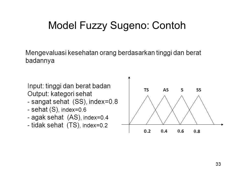33 Model Fuzzy Sugeno: Contoh Mengevaluasi kesehatan orang berdasarkan tinggi dan berat badannya Input: tinggi dan berat badan Output: kategori sehat - sangat sehat (SS), index=0.8 - sehat (S), index=0.6 - agak sehat (AS), index=0.4 - tidak sehat (TS), index=0.2 0.2 0.
