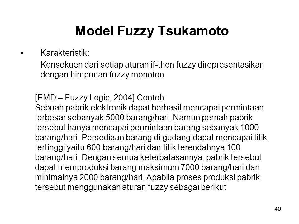 40 Model Fuzzy Tsukamoto Karakteristik: Konsekuen dari setiap aturan if-then fuzzy direpresentasikan dengan himpunan fuzzy monoton [EMD – Fuzzy Logic,