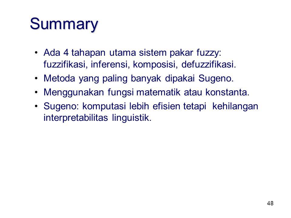 48 Summary Ada 4 tahapan utama sistem pakar fuzzy: fuzzifikasi, inferensi, komposisi, defuzzifikasi. Metoda yang paling banyak dipakai Sugeno. Menggun