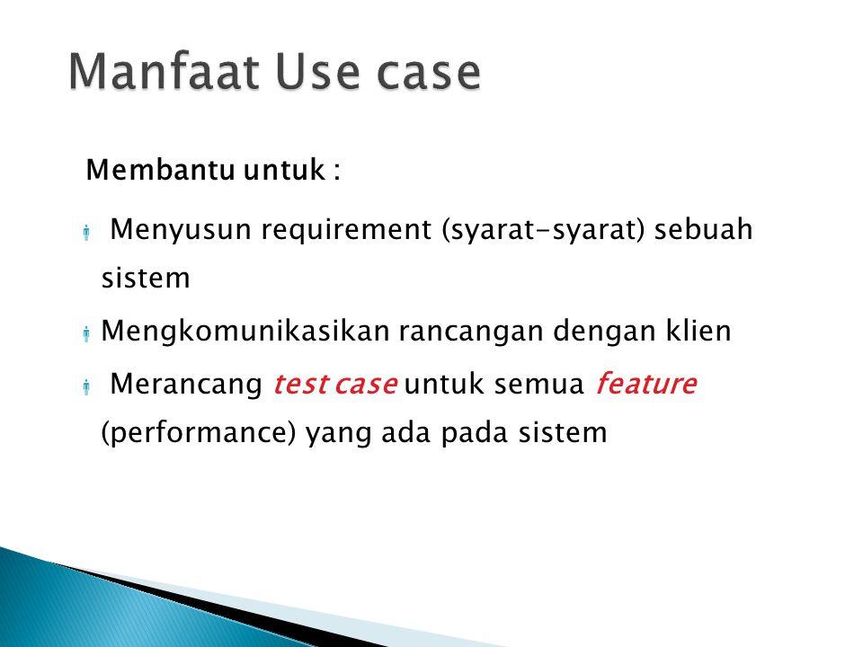 USE CASE DIAGRAM A PENGERTIAN Menjelaskan urutan kegiatan yang dilakukan aktor dan sistem untuk mencapai tujuan tertentu Gambaran fungsionalitas yang