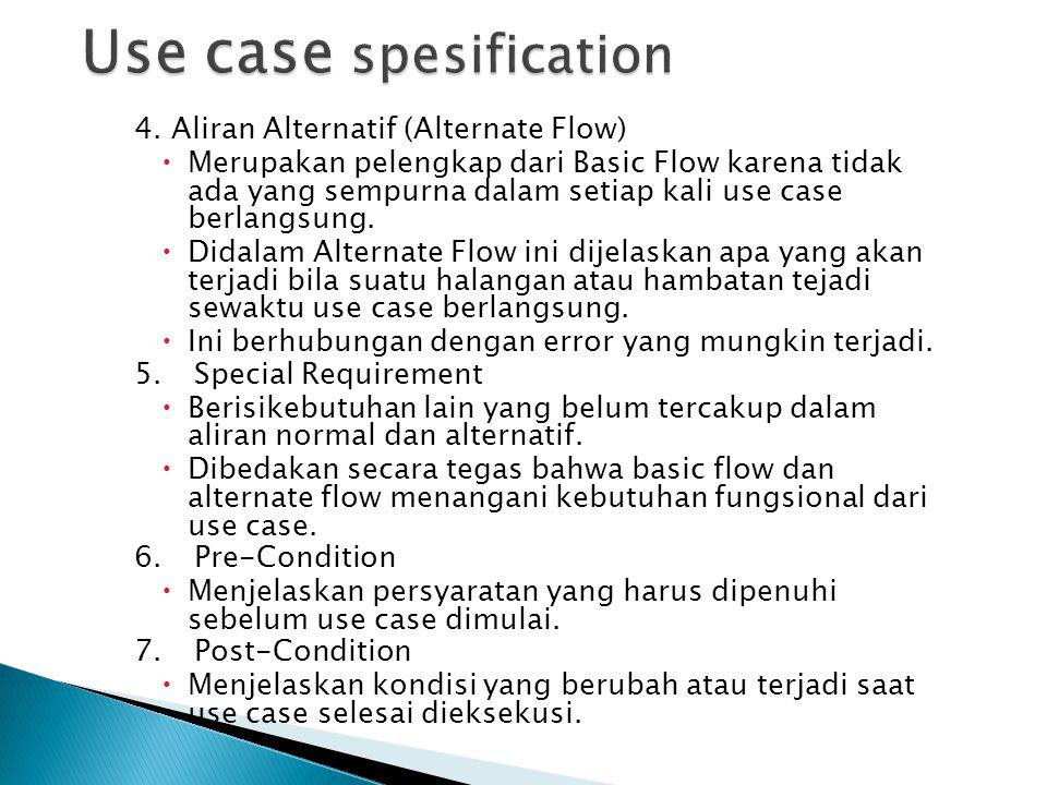 1. Nama Use case  Mencantumkan nama dari Use case yang bersangkutan.  Sebaiknya diawali dengan kata kerja untuk menunjukkan suatu aktivitas. 2.Diskr