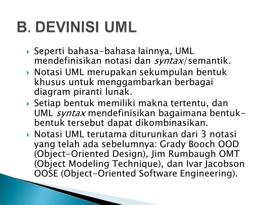 "UML = Unified Modelling Language Sebuah ""Bahasa"