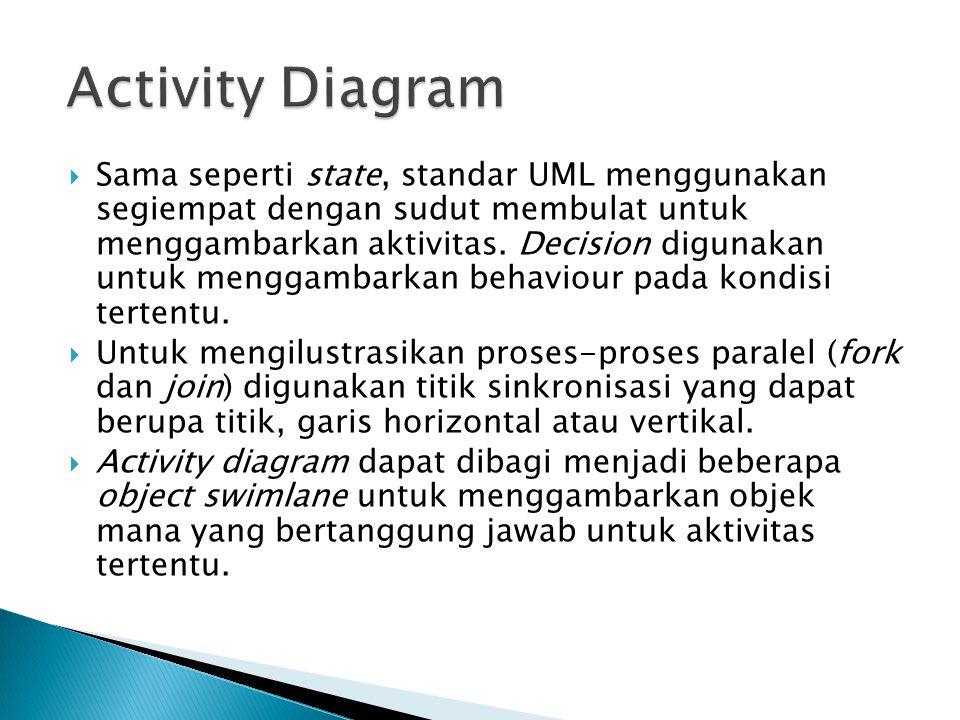  Sebuah aktivitas dapat direalisasikan oleh satu use case atau lebih. Aktivitas menggambarkan proses yang berjalan, sementara use case menggambarkan